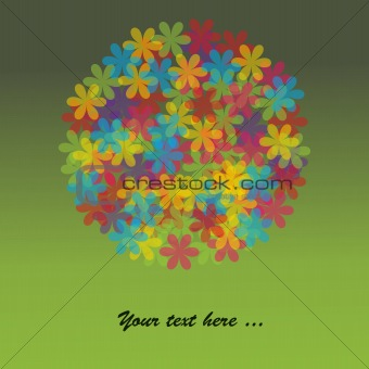 Green Card with multicolored flowers