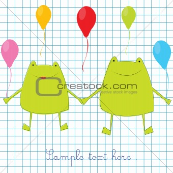 Green frogs on math page background