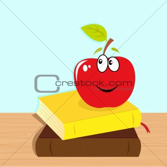 Back to school: books and red smiling apple character