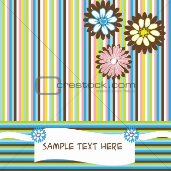 Greeting card with flowers and stripes