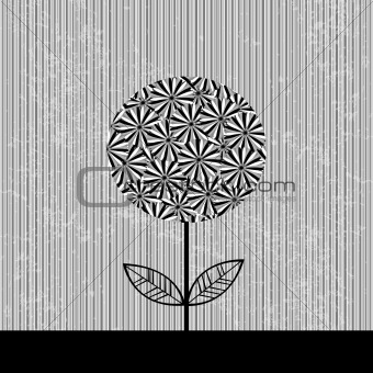 Grey striped background with flowers