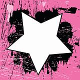 Grunge pink background with star