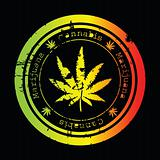 Grunge stamp with marijuana leaf