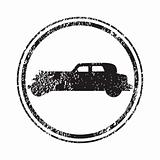 Grunge stamp with old car silhouette