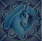 blue mosaic unicorn