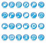 blue glass web icons