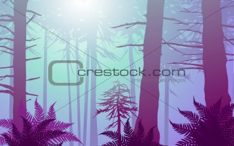 vector enchanted forest in cool colors