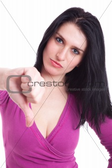 Young pretty women with thumb down