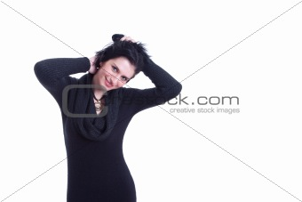 beautiful woman, holding her hair with her hands