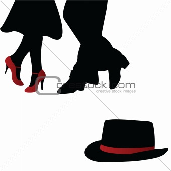 Pair of dancers with red accesories