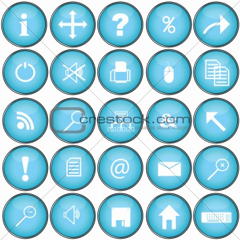 Blue buttons with pc symbols