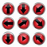 Red buttons for web design, black arrow icon set