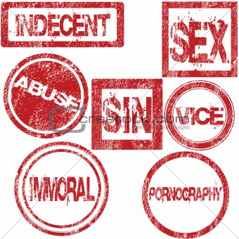 Red rubber stamps with sexual conotation