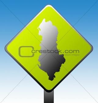 Albania road sign