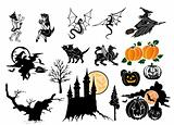 Set vector halloween silhouettes