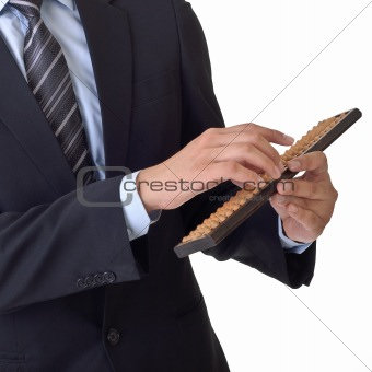 Business man use abacus