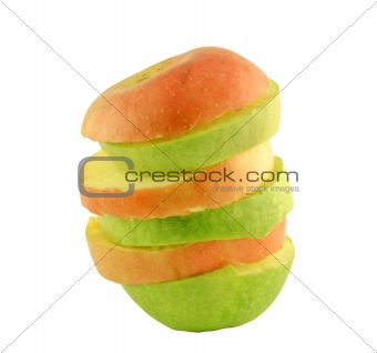 Green and red apples slices
