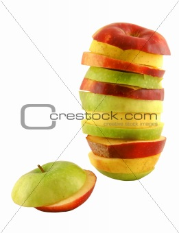Apple slices; different colors