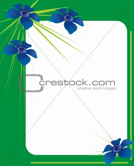 green photo frame with blue flowers