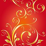 Seamless vector wallpaper with gold floral