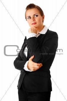 thoughtful modern business woman