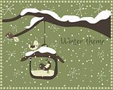Winter theme with bird feeder, vector