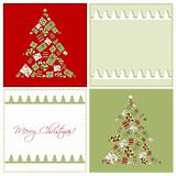 Christmascard with trees, vector