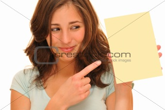 Beautiful woman and blank card