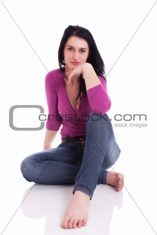 beautiful woman, sitting on the floor