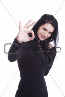 Young pretty women with thumb ok