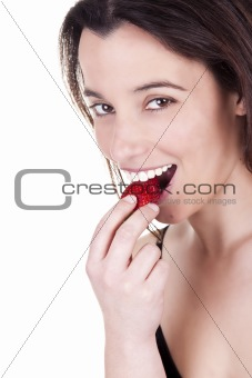 women eating strawberries