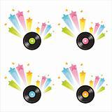 vinyl records with splashes