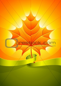 autumn yellow leaf in sunlight rays with ribbon