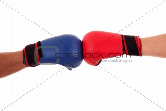 Two boxers touch gloves ready to start fight, isolated on white, studio shot