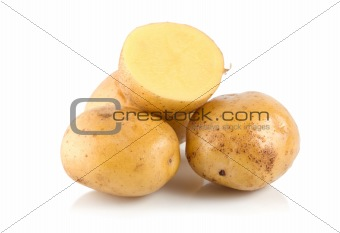 Four potatoes isolated