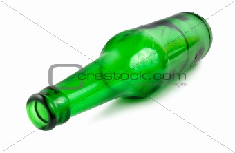 Green beer bottle isolated