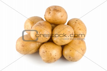 Potatoes on a white