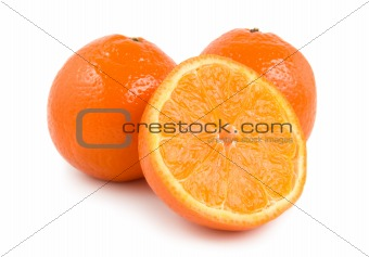 Three perfectly fresh oranges