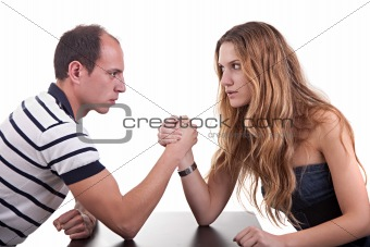 one woman and one man wrestling