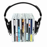 Headphones on stack of CDs