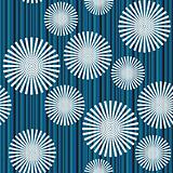 Retro background with stipes and abstract flowers, pattern