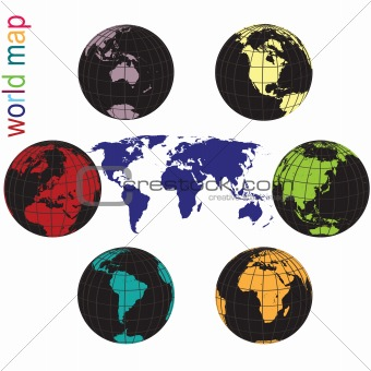 Set of Earth globes and world map in all colors