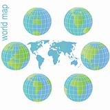 Set of Earth globes and world map with blue and green