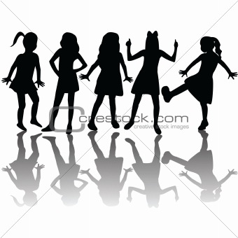 Silhouettes of children isolated on white background