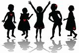 Silhouettes of cute girls with red ribbons