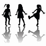 Silhouettes of happy kids