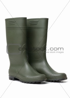 Green rubber boots