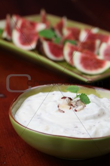 Nut and honey cheese with figs