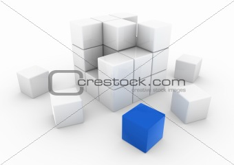 3d business cube blue white