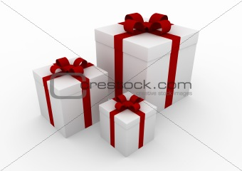 3d gift box white red